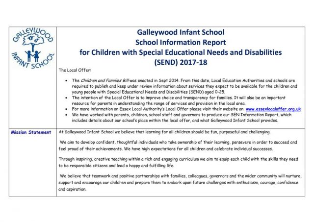 thumbnail of Special Educational Needs Information Report 2017