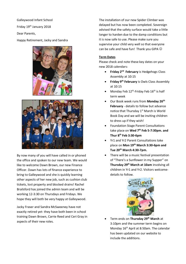 Newsletter 19th January 2018