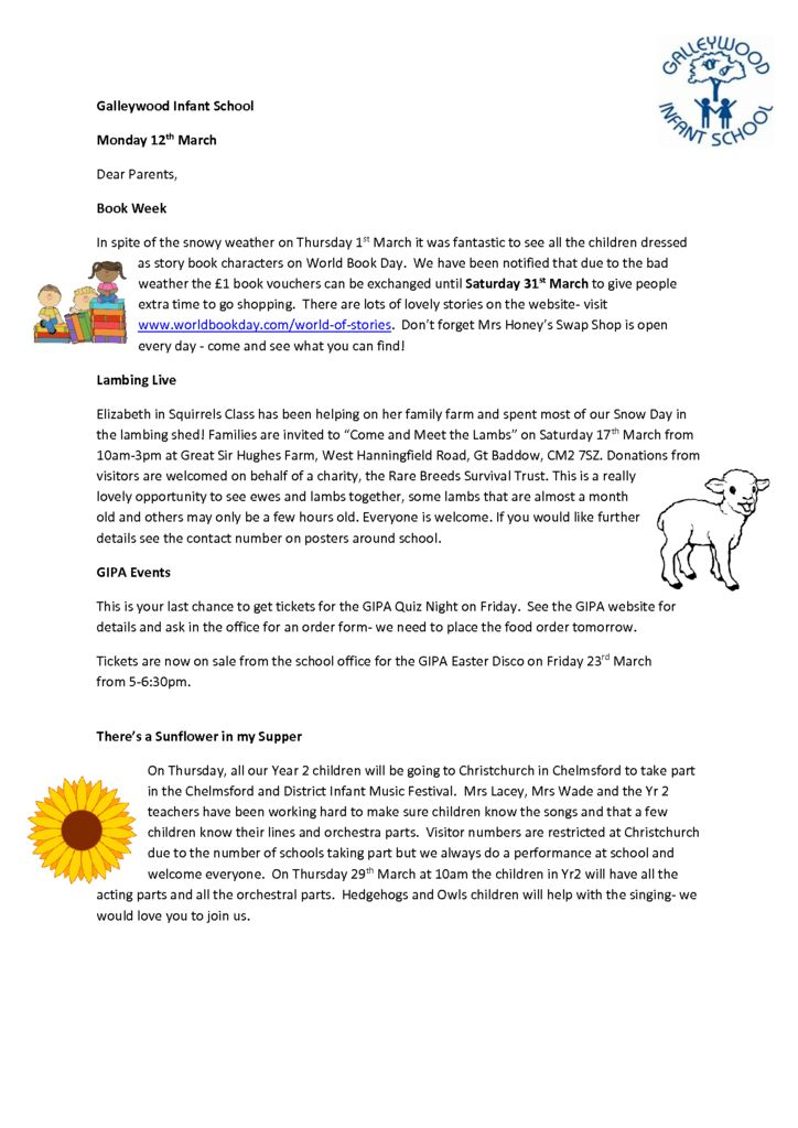 School Newsletter – 13/3/18