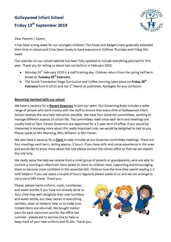 Newsletter – 13th September 2019