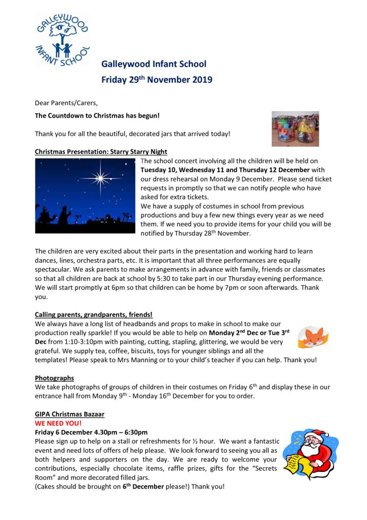 Newsletter – 29th November 2019