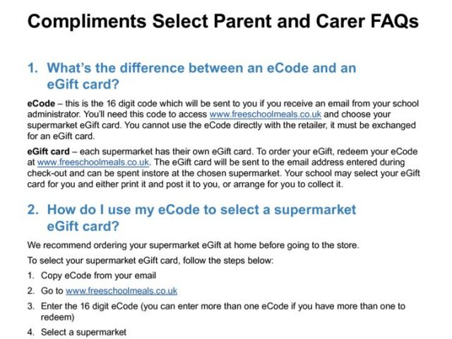 thumbnail of DfE – Free School Meals – Parent Carer FAQs