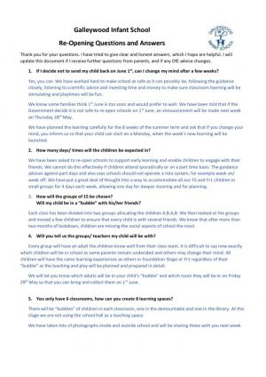 FAQ's for re-opening of school from 1/6/20