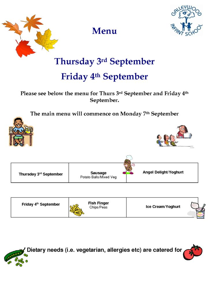thumbnail of Menu for Thurs 3rd Sept and Friday 4th Sept
