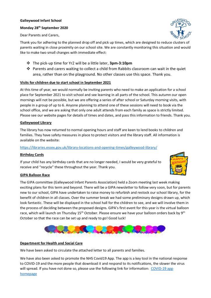 thumbnail of Newsletter Monday 28th September